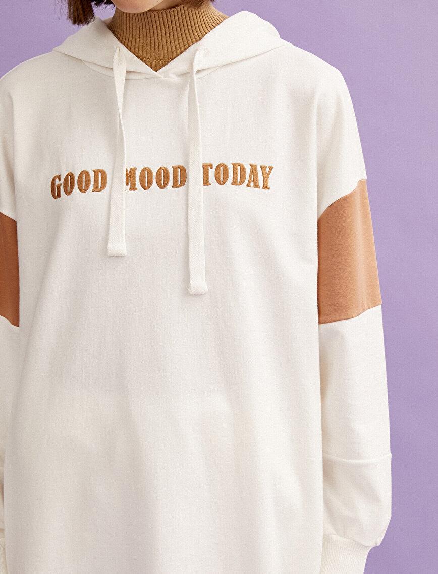 Pamuklu Kapüşonlu Slogan Renk Bloklu Sweatshirt