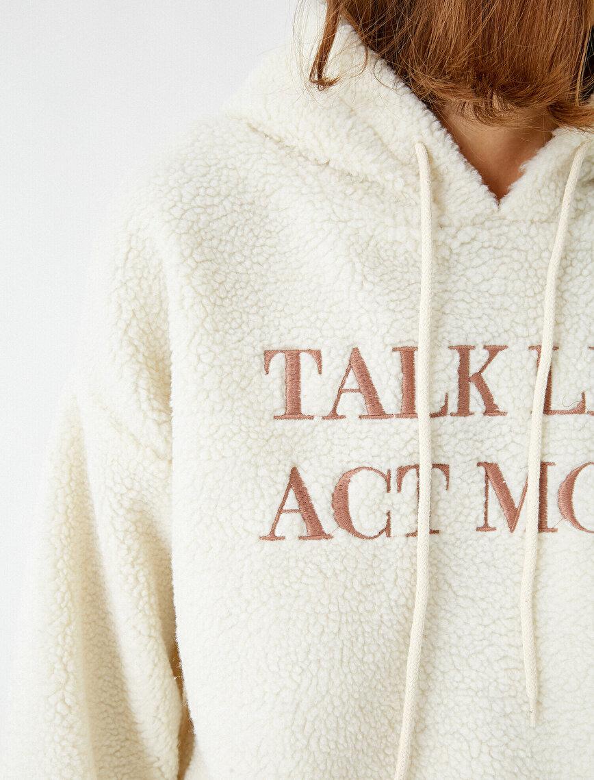 Kapüşonlu Yazılı Baskılı Peluş Sweatshirt
