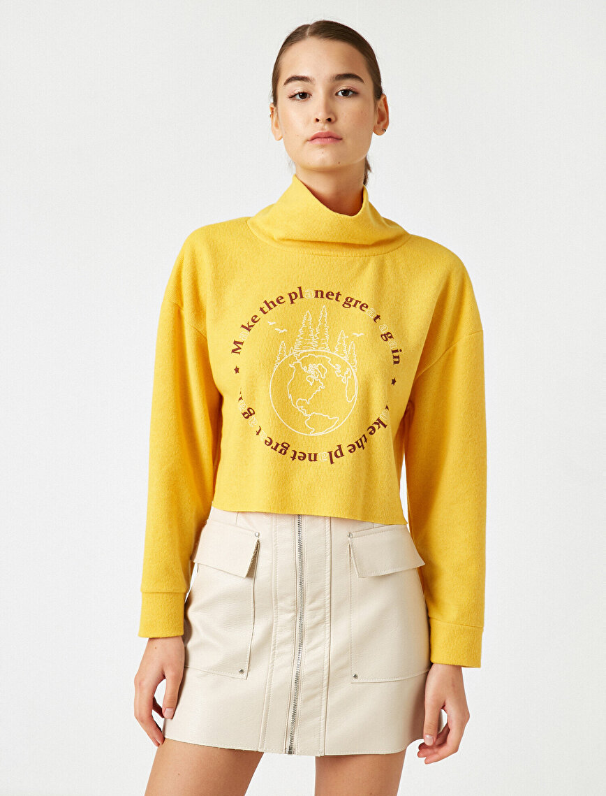 Respect Life | Yaşama Saygı - Cotton Shawl Neck Letter Printed Crop Sweatshirt
