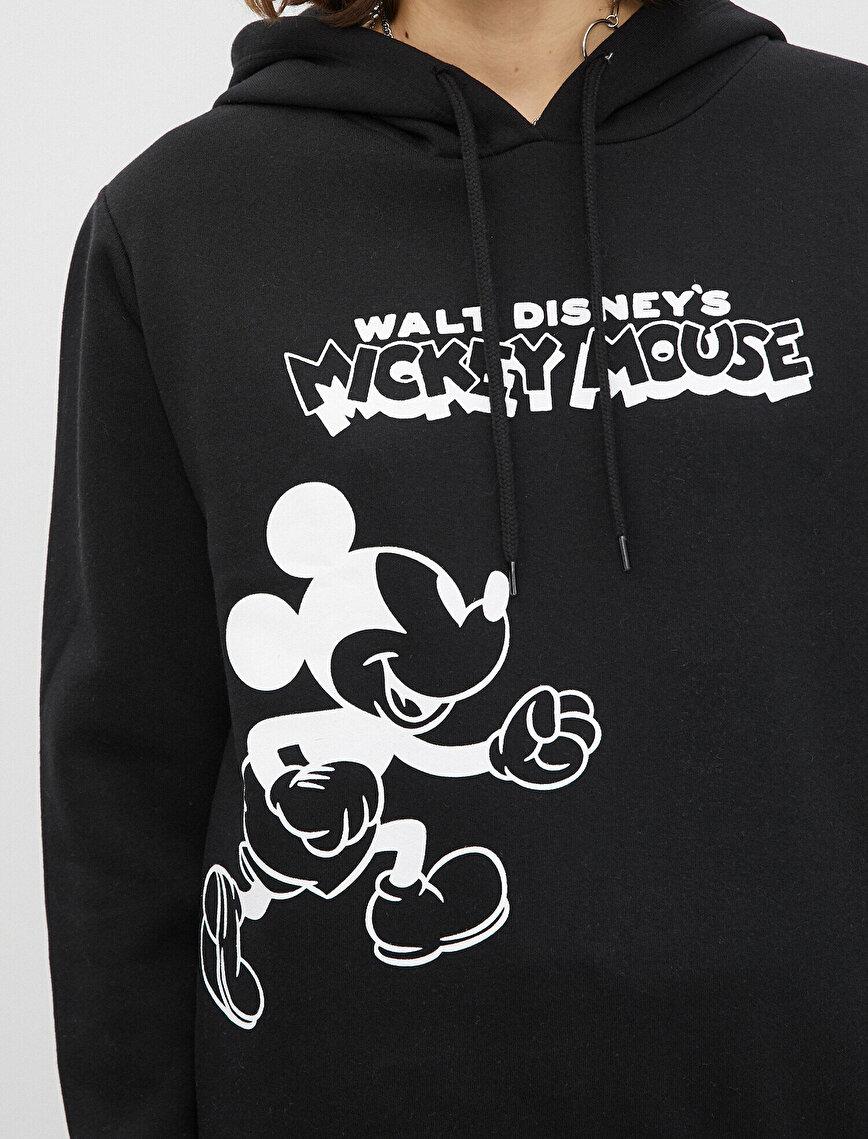 Disney Lisanslı Mickey Mouse Baskılı Kapüşonlu Sweatshirt