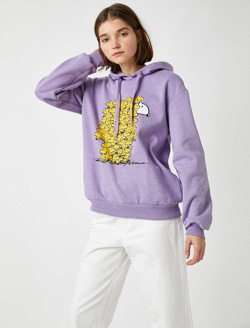 Pamuklu Snoopy Lisanslı Kapüşonlu Sweatshirt