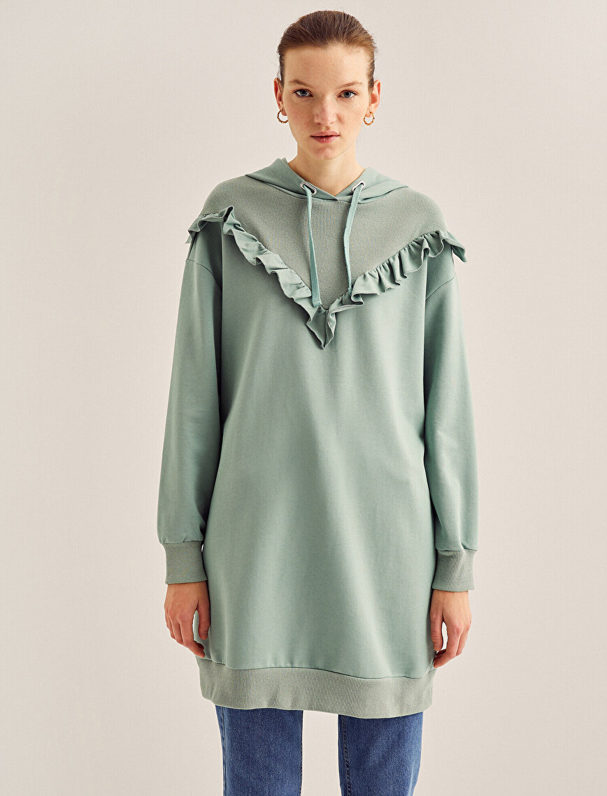 Cotton Hooded Frill Detailed Sweatshirt