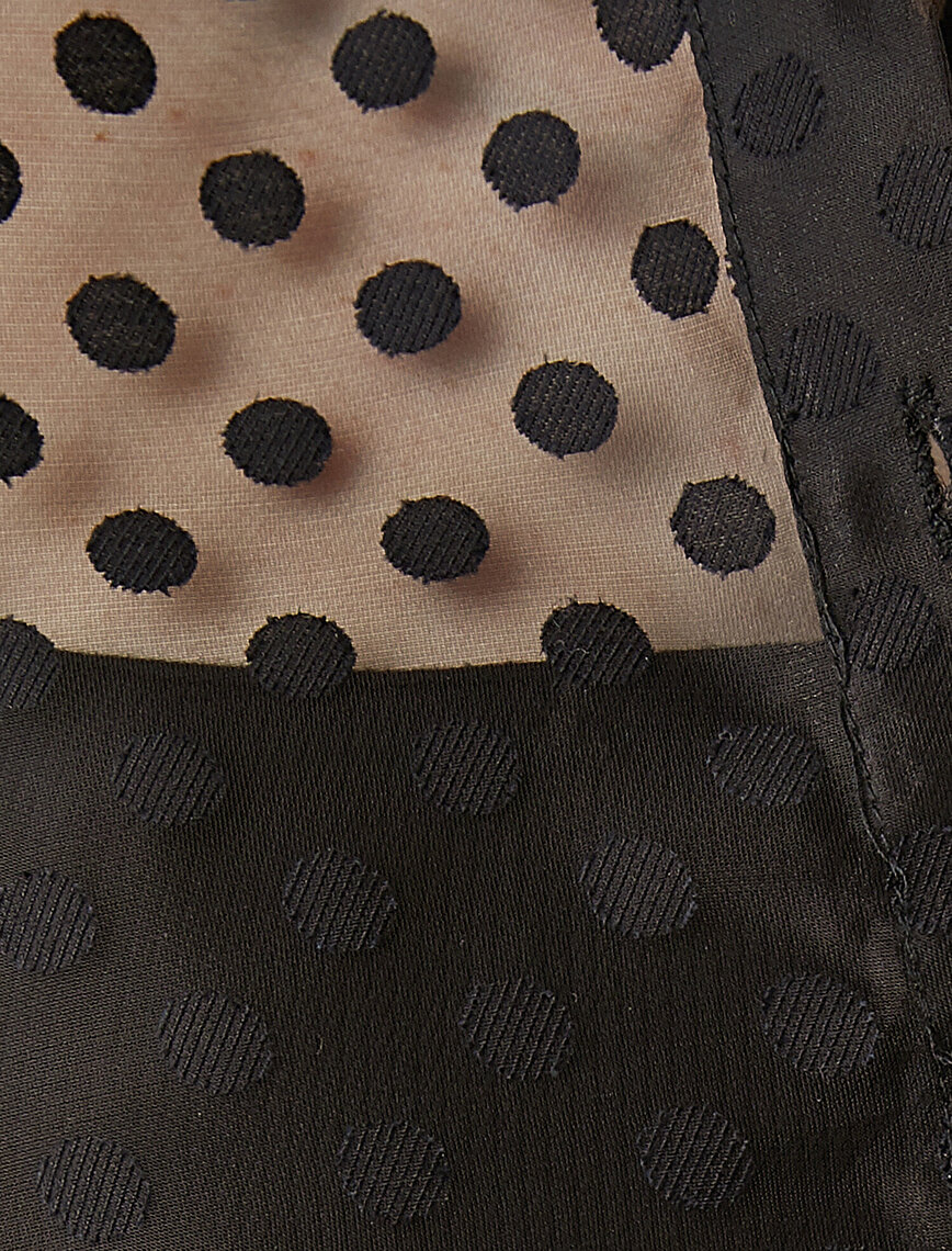 Polka Dot Long Sleeve Tulle Shirt