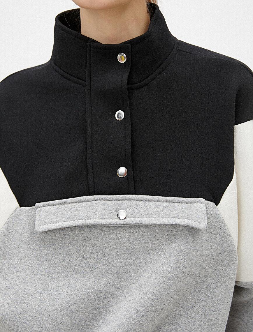 Respect Life | Yaşama Saygı - Color Block Pocket Detailed Sweatshirt