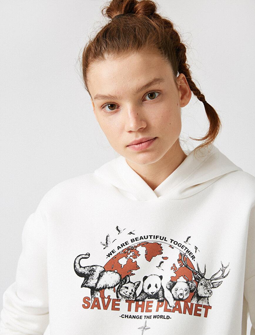 Respect Life | Yaşama Saygı - Organic Cotton Hooded Printed Sweatshirt