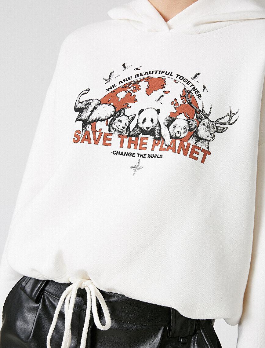 Respect Life | Yaşama Saygı - Organik Pamuklu Kapüşonlu Baskılı Sweatshirt