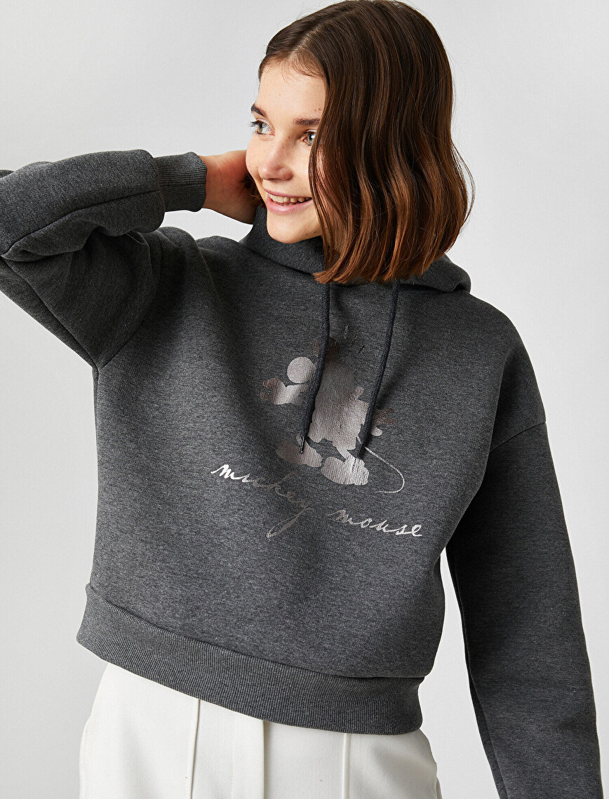 Disney Licensed Mickey Mouse Printed Hooded Sweatshirt
