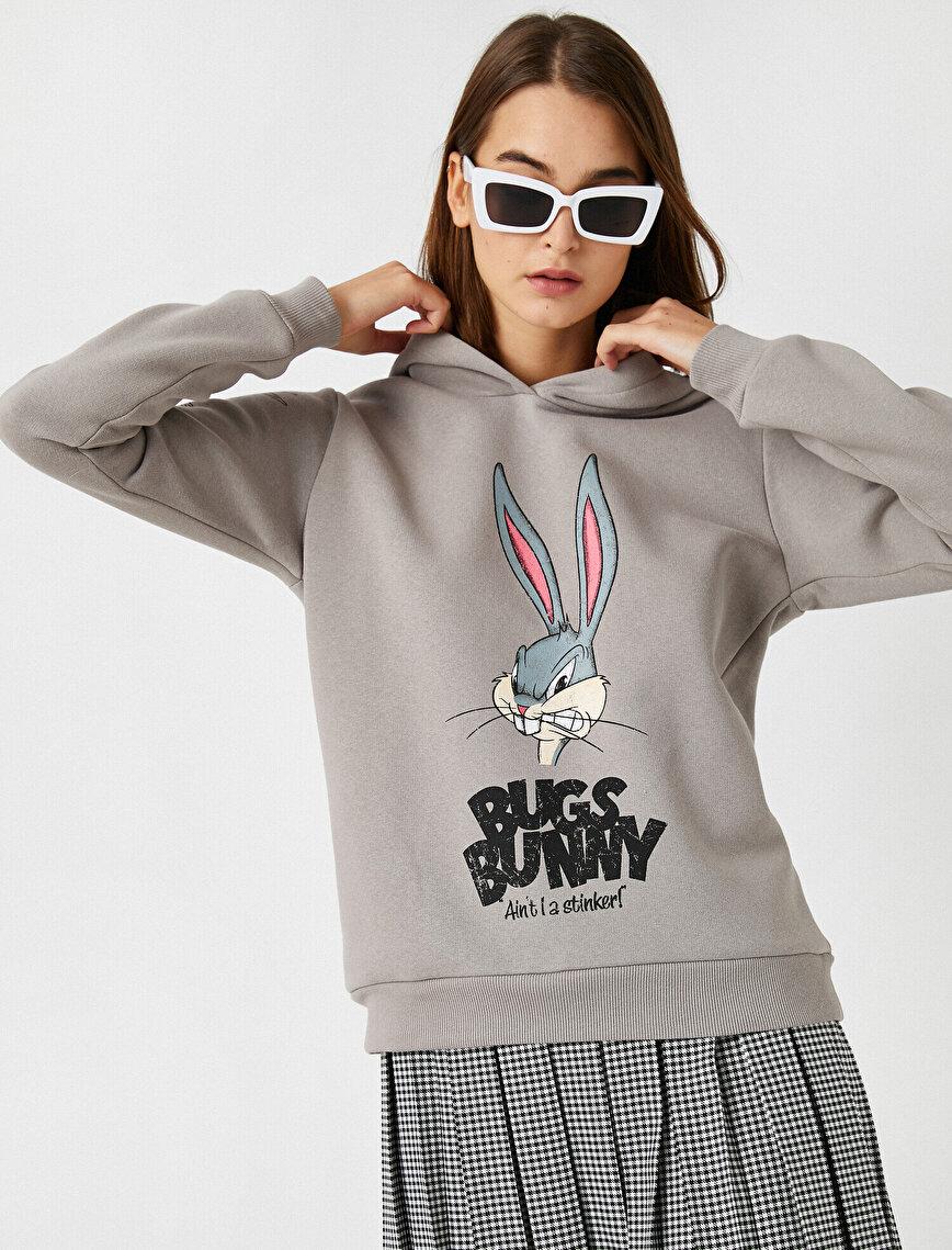 Warner Bros Lisanslı Bugs Bunny Baskılı Kapüşonlu Sweatshirt
