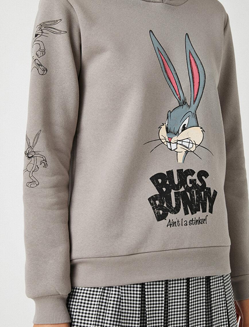 Warner Bros Licensed Bugs Bunny Printed Hooded Sweatshirt