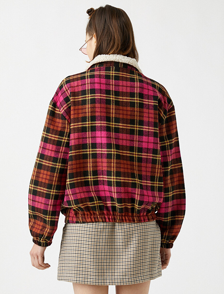 Faux Fur Detailed Checked Zip Shirt