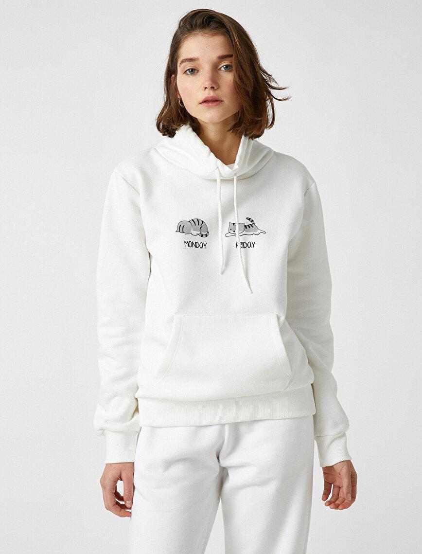 Pamuklu Cepli Baskılı Sweatshirt