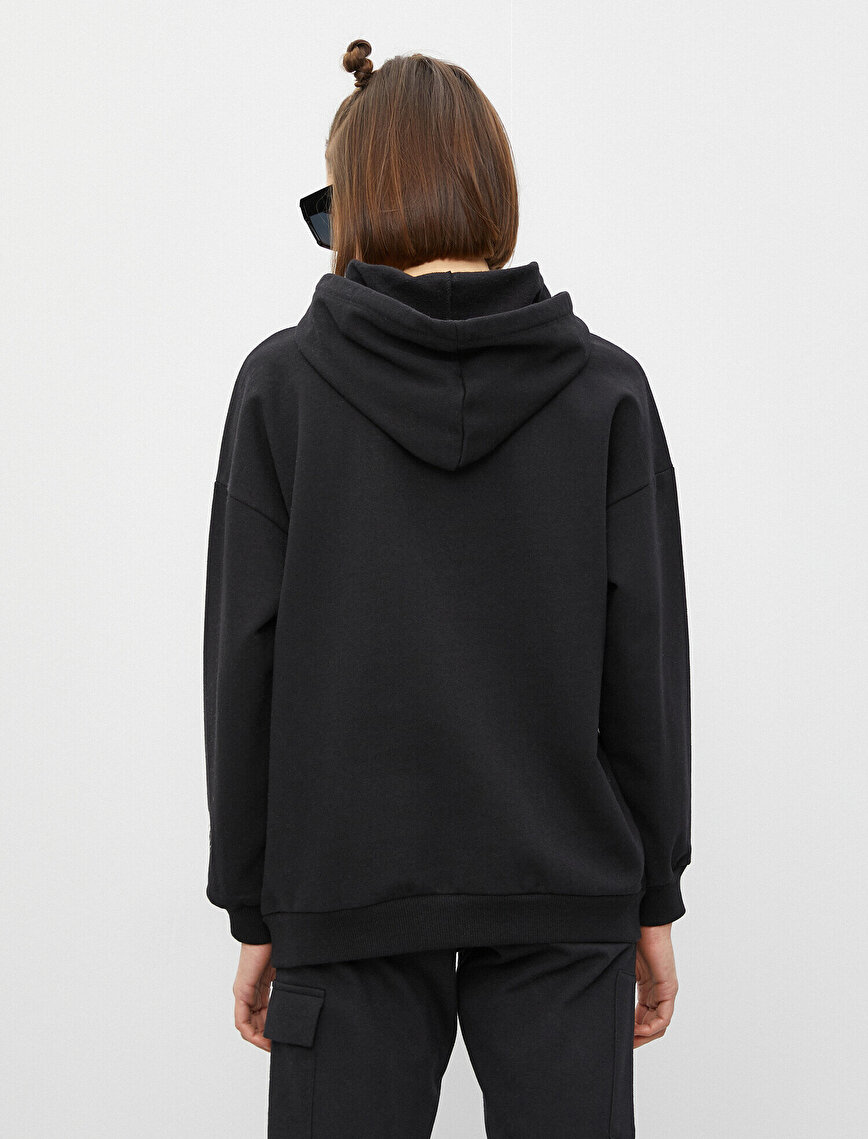 Cotton Hooded Letter Printed Sweatshirt