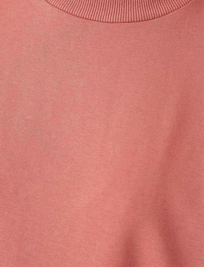 Cotton Crew Neck Frill Detailed Long Sweatshirt