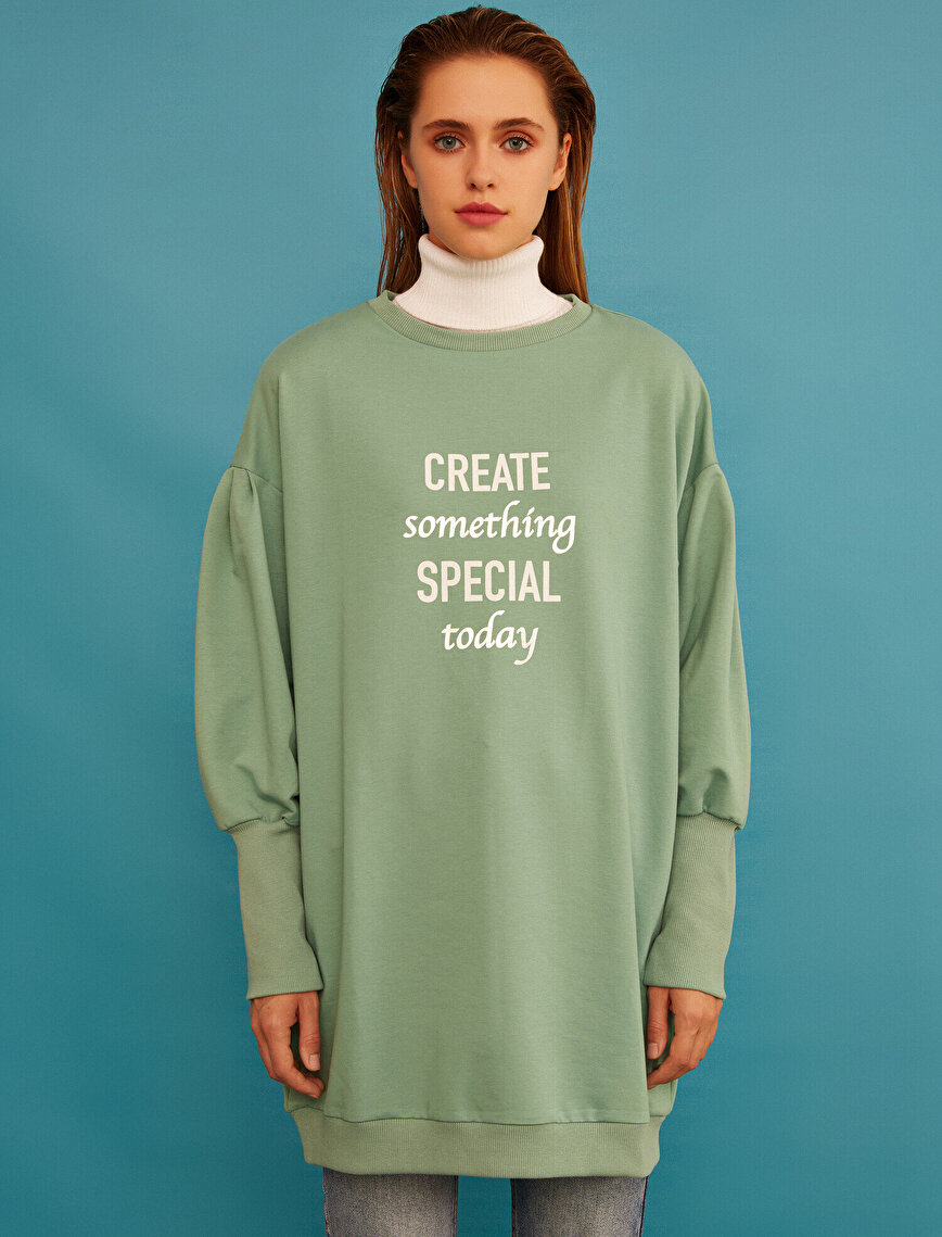 Slogan Printed Long Sweatshirt