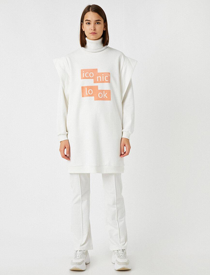Pamuklu Vatkalı Yazılı Baskılı Uzun Kollu Sweatshirt