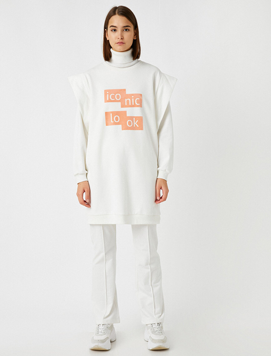 Cotton Shoulder Pad Letter Printed Long Sweatshirt