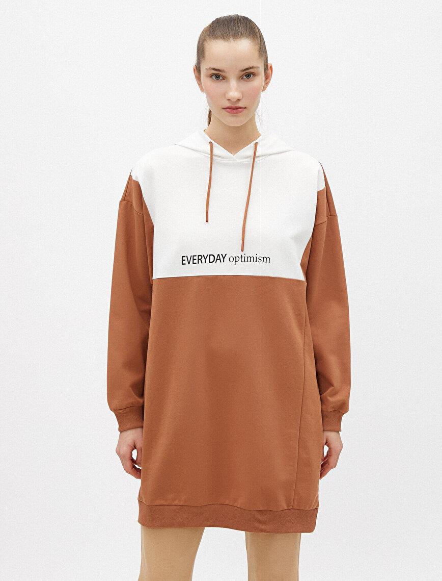 Pamuklu Kapüşonlu Renk Bloklu Slogan Uzun Sweatshirt