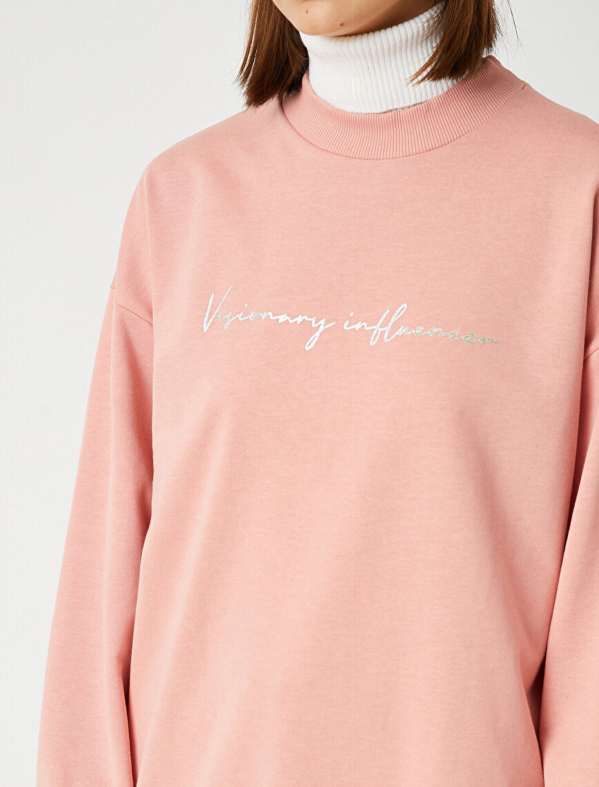 Cotton Crew Neck Letter Printed Long Sweatshirt