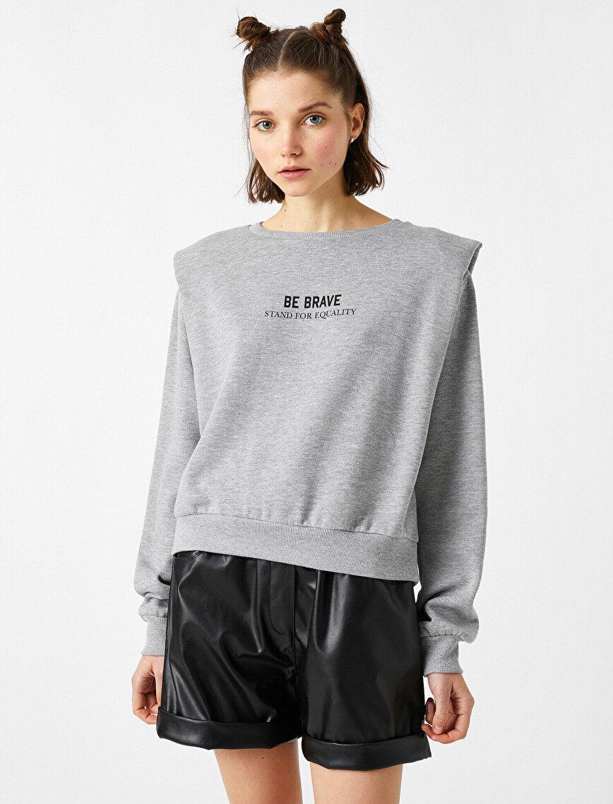 Vatkalı Yazılı Baskılı Sweatshirt