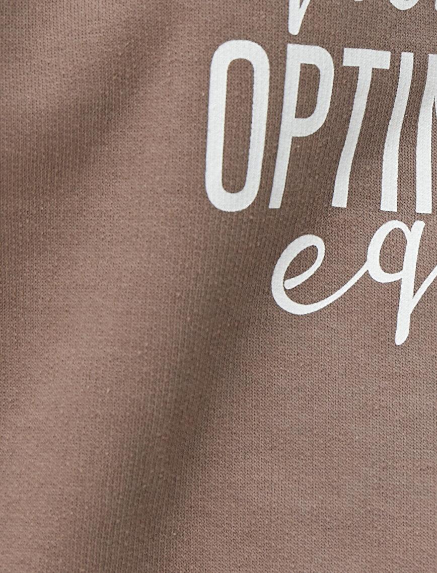 %100 Pamuk Bisiklet Yaka Yazılı Baskılı Sweatshirt