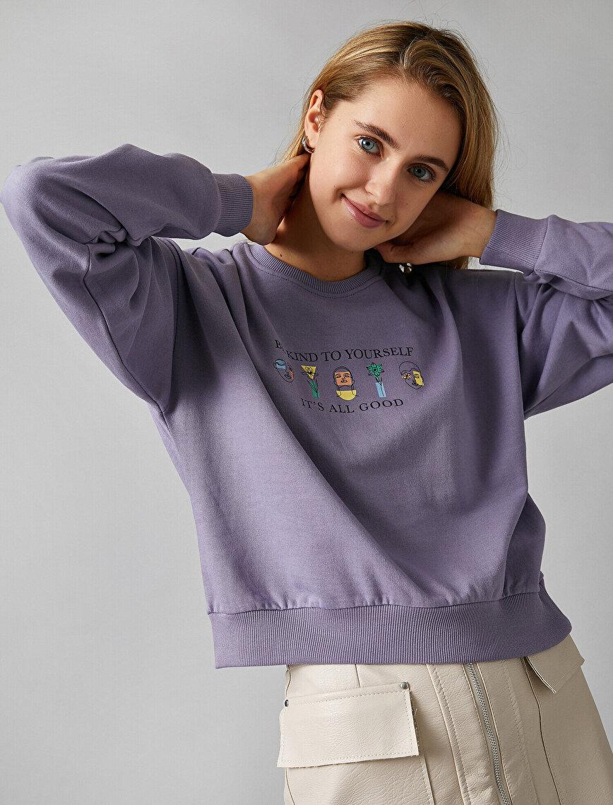 %100 Pamuk Baskılı Kapüşonlu Crop Sweatshirt