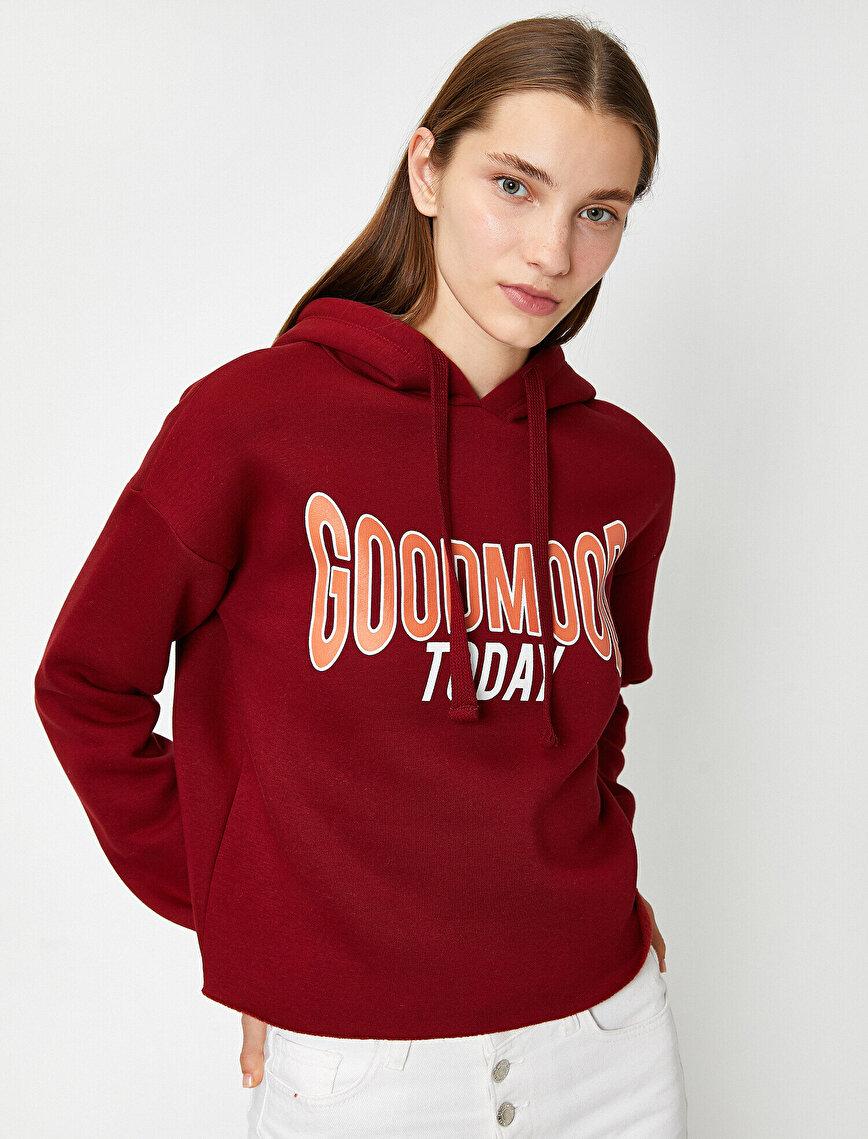 Long Sleeve Hooded Letter Printed Sweatshirt
