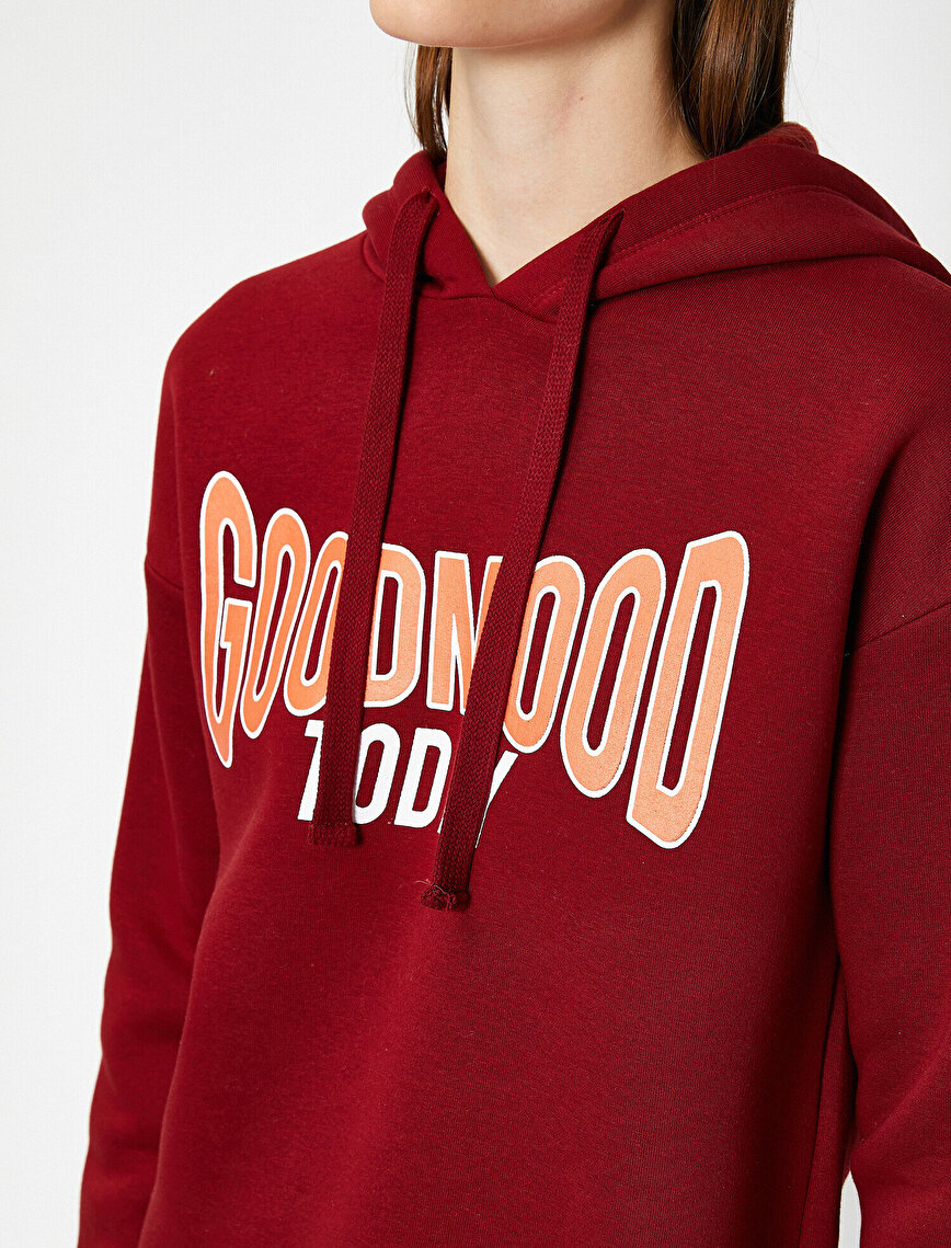 Long Sleeve Hooded Letter Printed Sweatshirt