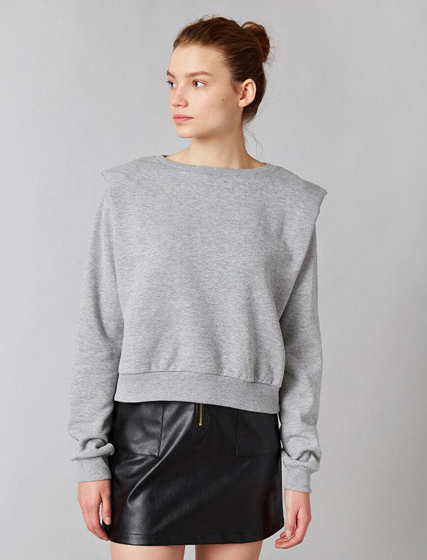 Shoulder Pad Crew Neck Sweatshirt