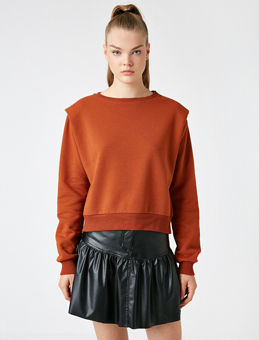 Shoulder Pad Crew Neck Sweatshirt
