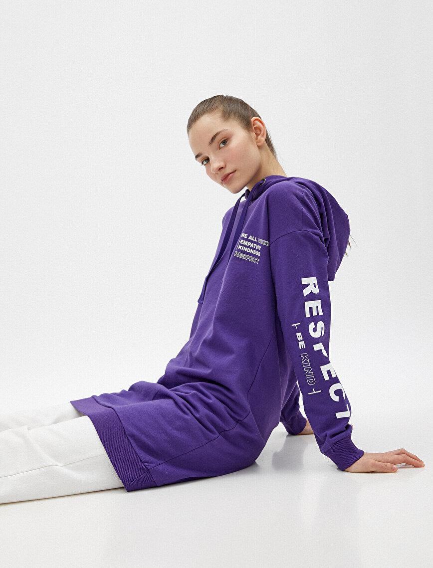 %100 Pamuk Kapüşonlu Yazılı Baskılı Sweatshirt
