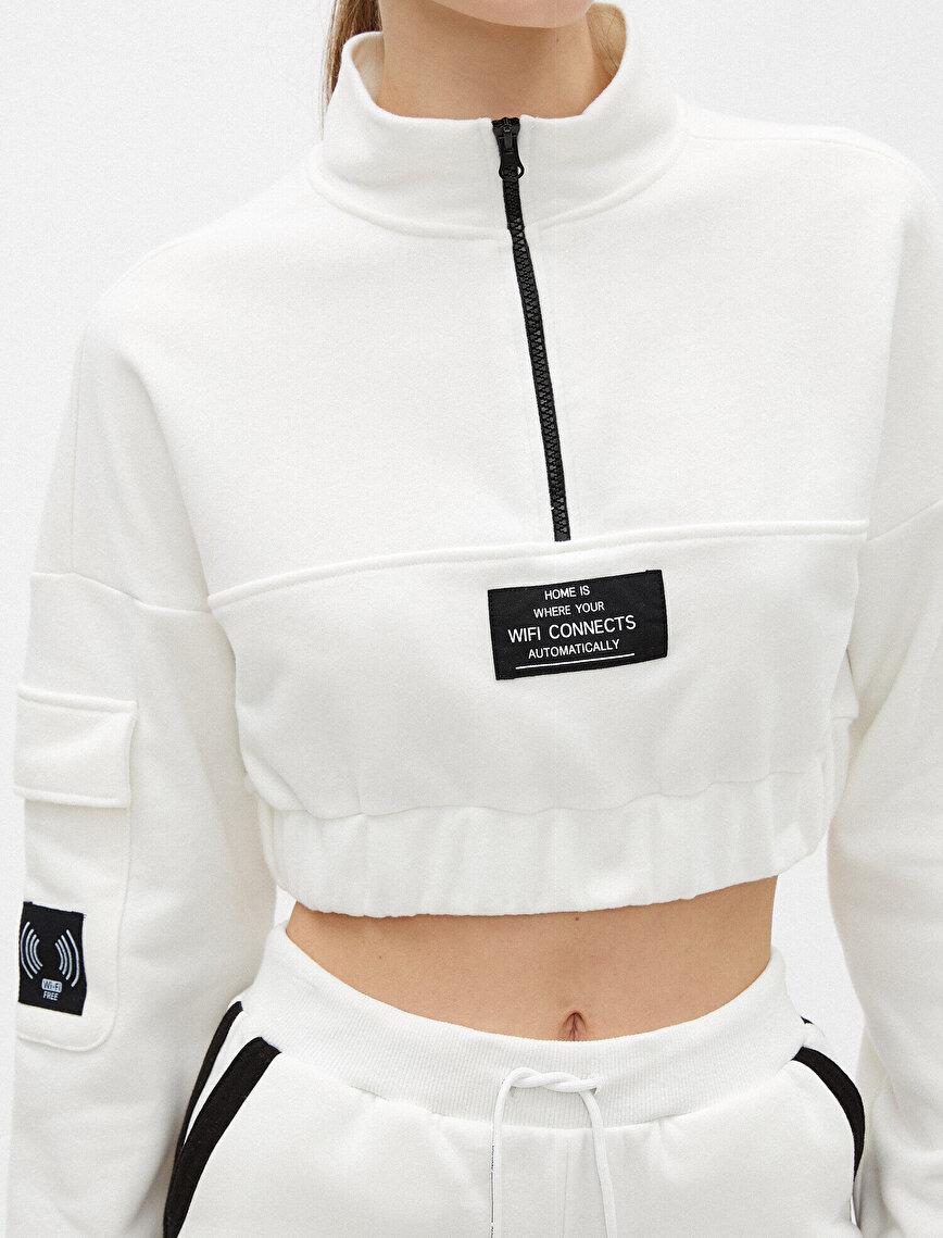 Sloganlı Crop Sweatshirt