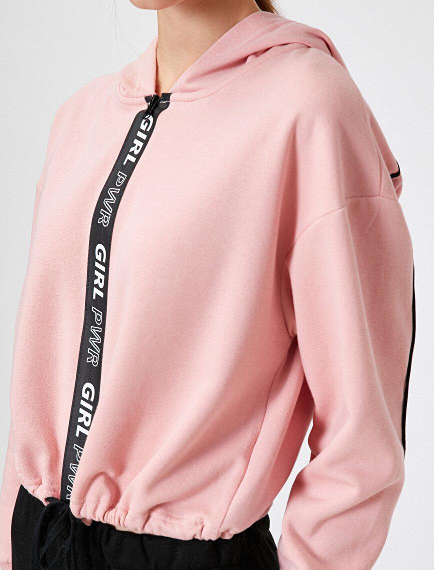 Hooded Slogan Crop Sweatshirt