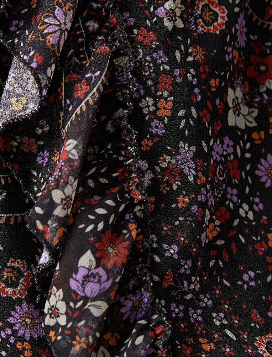 Boğazlı Uzun Kollu Şal Desenli Şifon Elbise