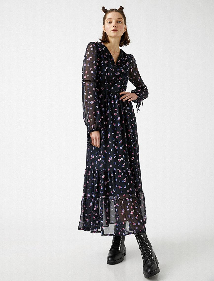 Uzun Kollu Şifon Çiçekli Elbise