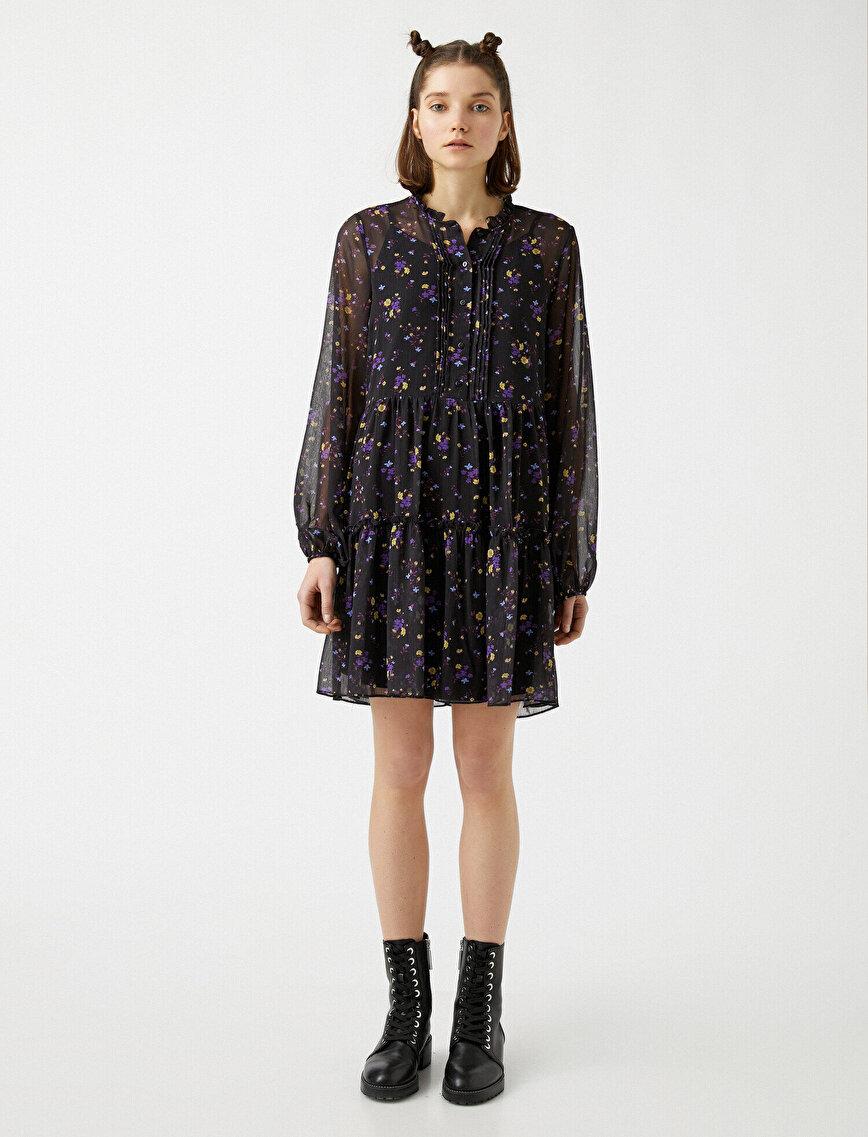 Uzun Kollu Çiçekli Tül Elbise