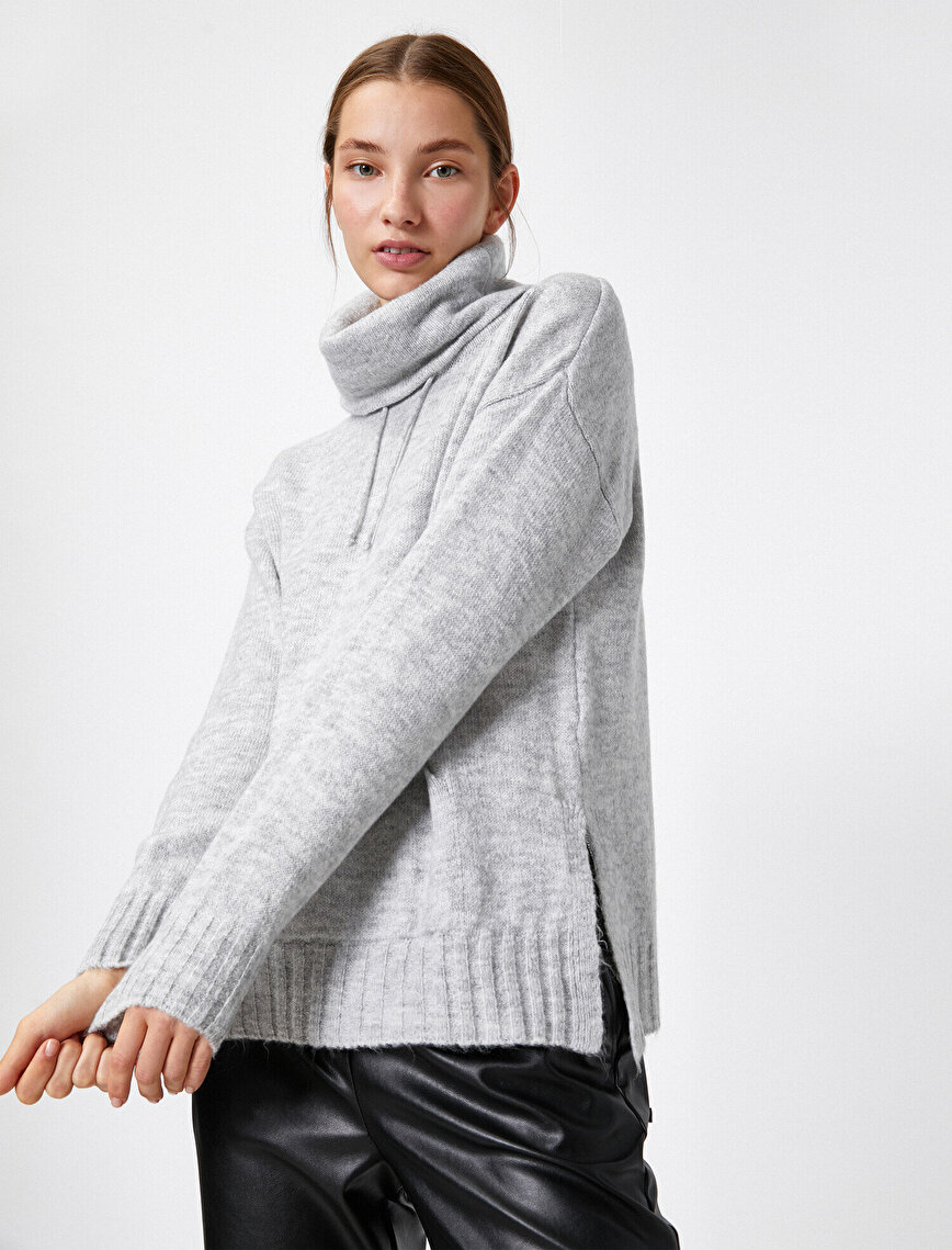 Shawl Neck Long Sleeve Oversize Knitted Sweater