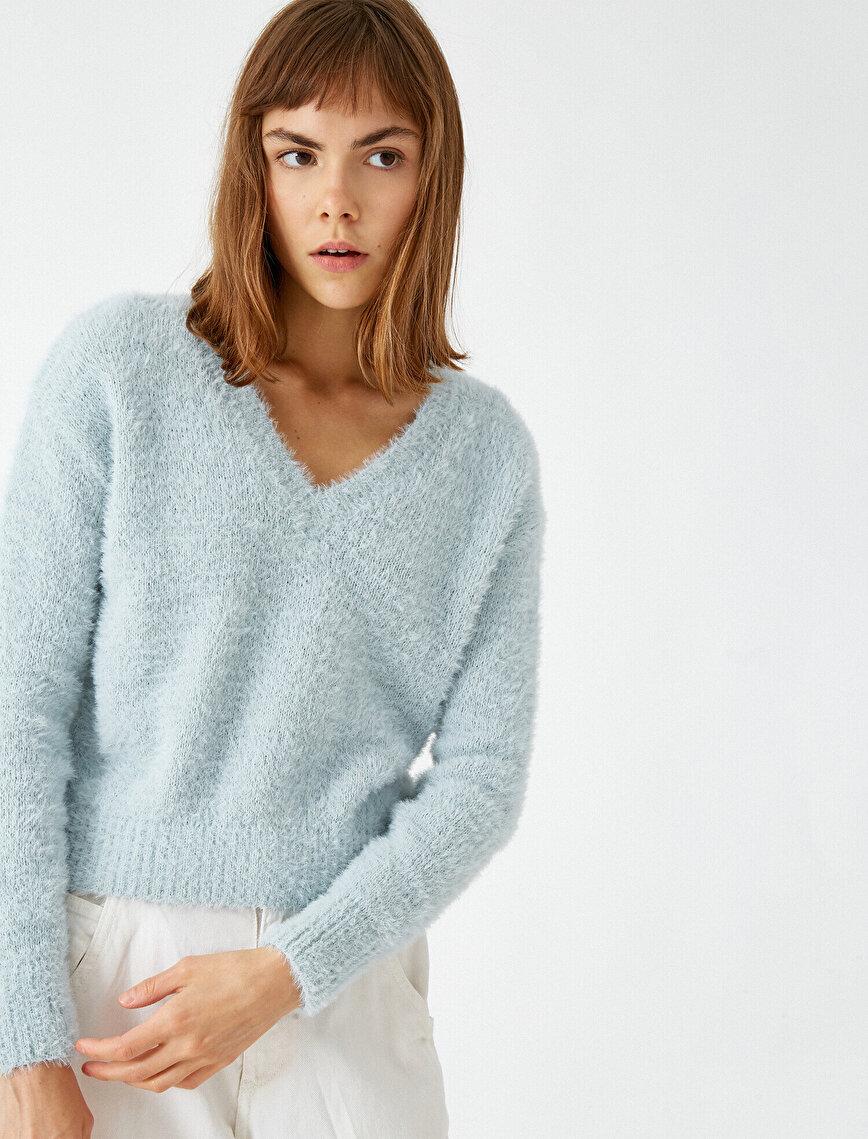 V Neck Crop Sweatshirt