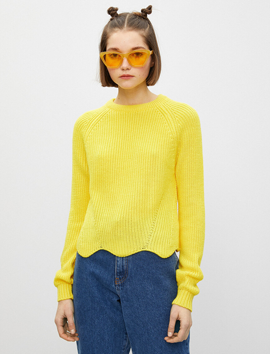 Long Sleeve Crew Neck Asymmetric Detailed Sweater