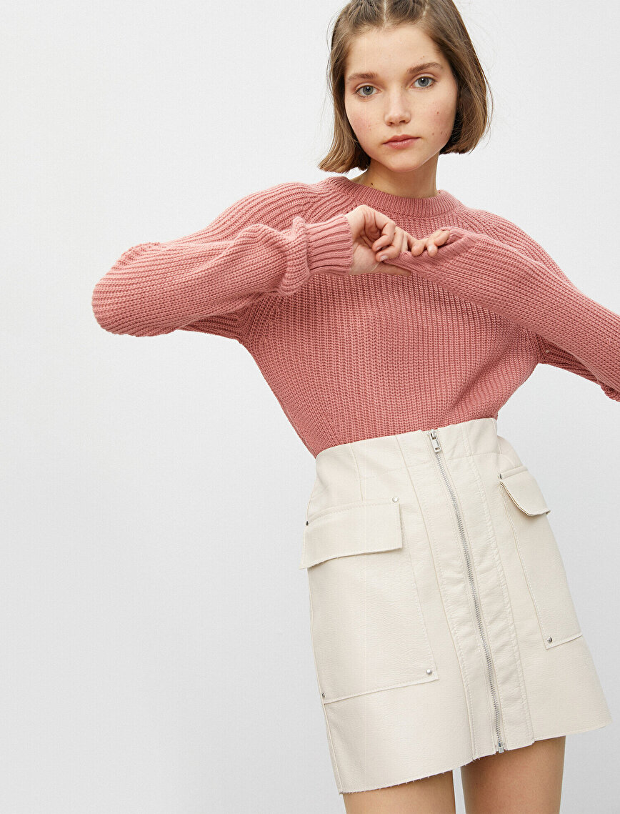 Long Sleeve Crew Neck Asymmetric Detailed Sweater