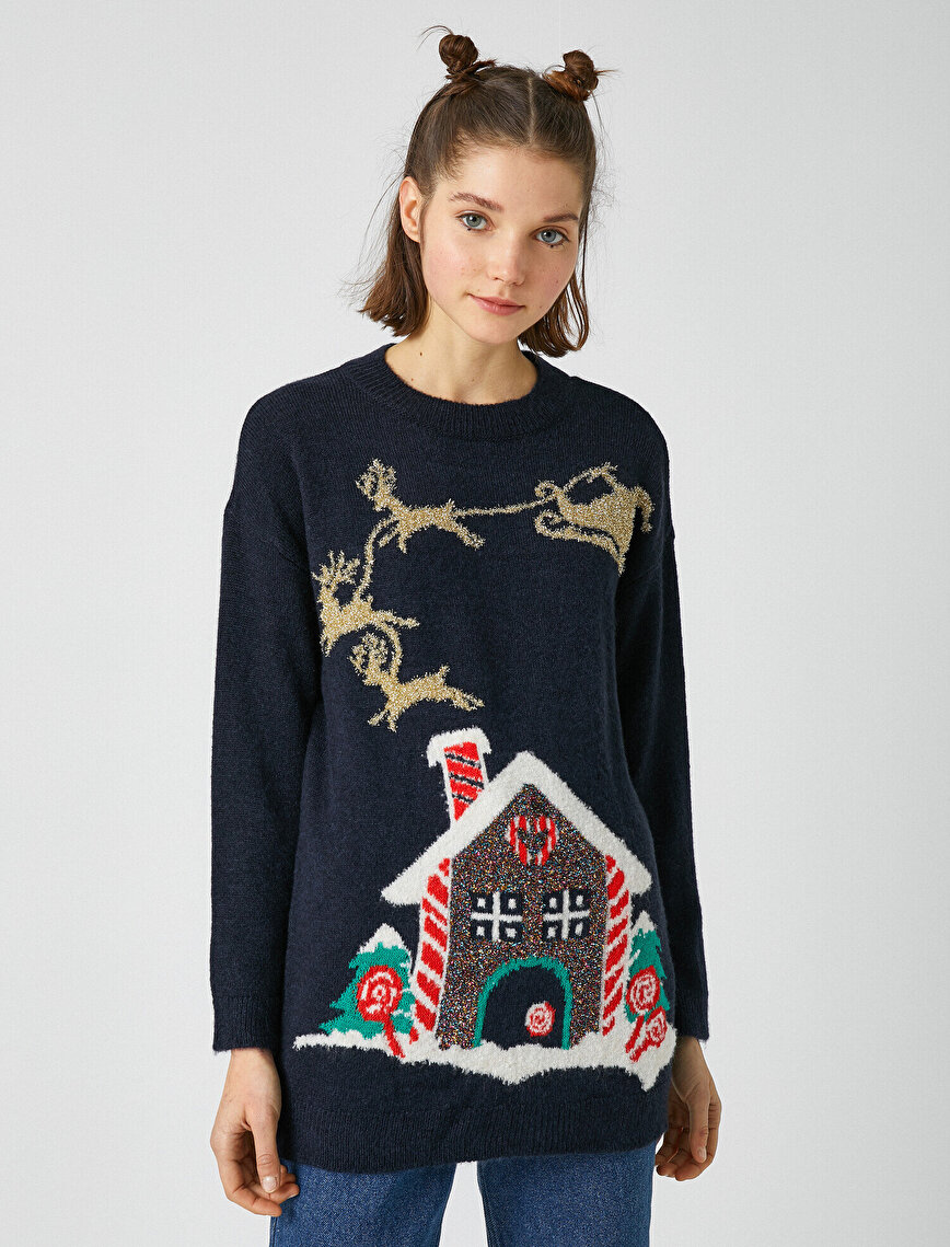 Crew Neck New Years Themed Sweater