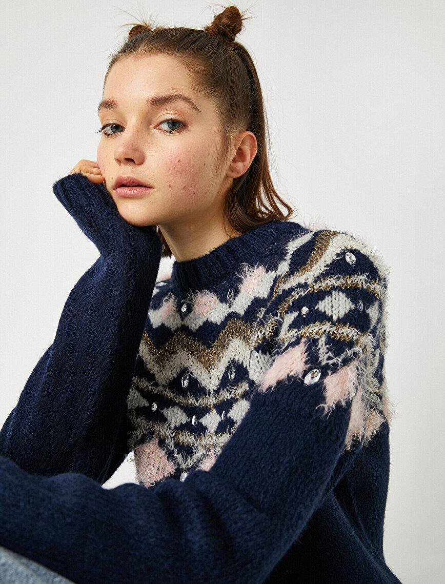 Gemstone Detailed Patterned Glitter Sweater