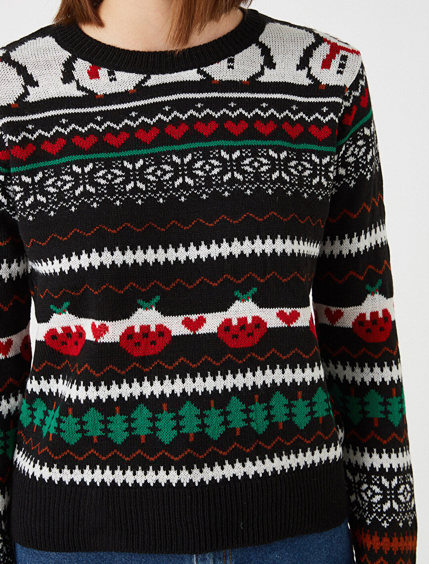 Crew Neck Patterned Sweater