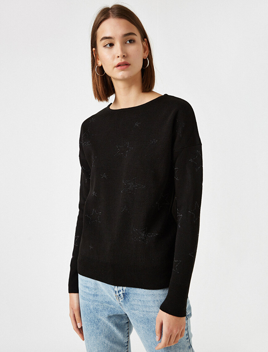 Crew Neck Jacquard Detailed Sweater