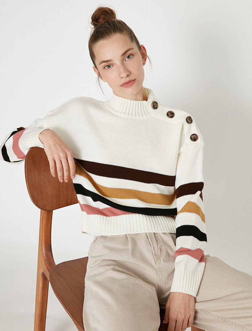Stand Neck Long Sleeve Button Sweater
