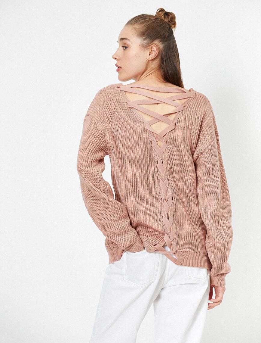 Back Detailed Knitted Jumper