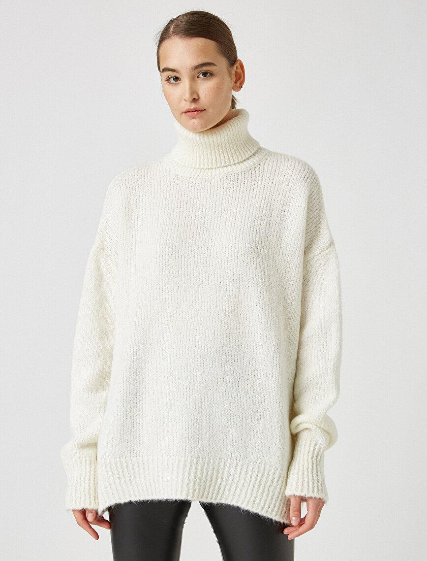 Turtle Neck Long Sleeve Long Sweater