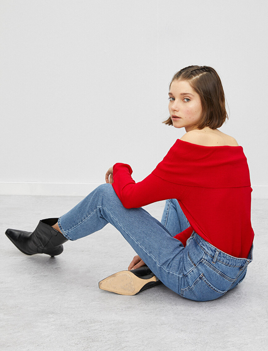 Boat Neck Long Sleeve Off-Shoulder Sweater