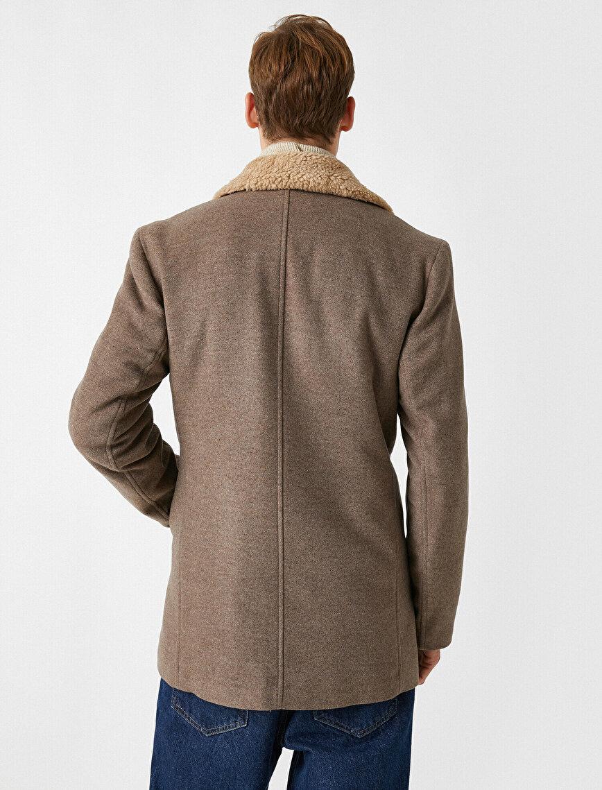 Color Faux Fur Button Detailed Pocket Coat