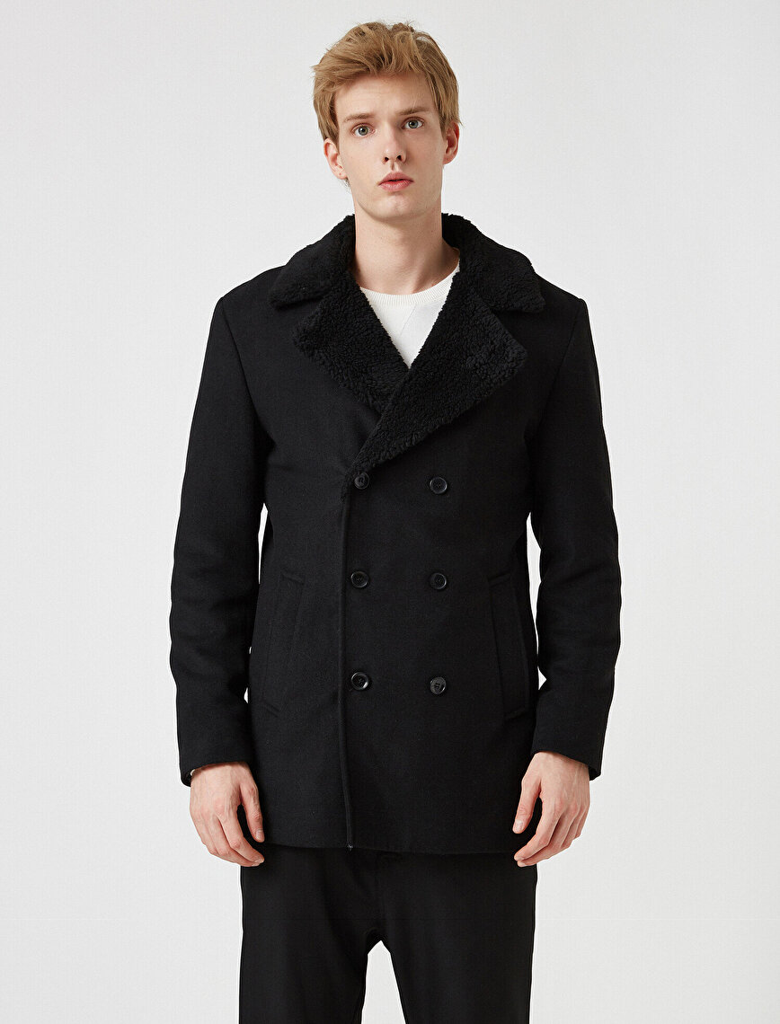 Color Faux Fur Button Detailed Pocket Coat