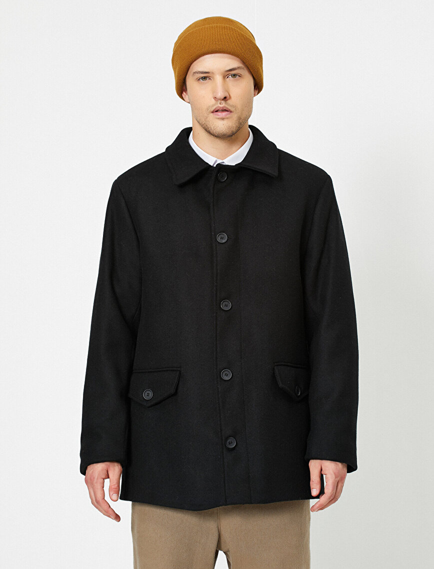 Shirt Collar Pocket Detailed Coat